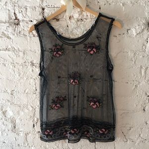 Gatsby 20's style Beaded Mesh Black Top Floral